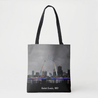 St. Louis Skyline at Night Art on a Tote Bag