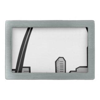 St Louis Skyline Drawing Rectangular Belt Buckles