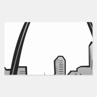 St Louis Skyline Drawing Rectangular Sticker