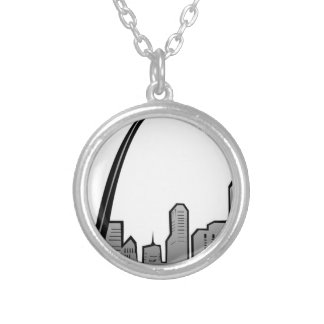 St Louis Skyline Drawing Silver Plated Necklace