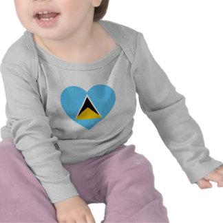 St Lucia Flag Heart Shirts