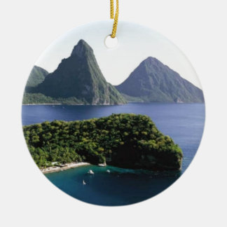 st_lucia_pitons_and_caribbean_sea ceramic ornament