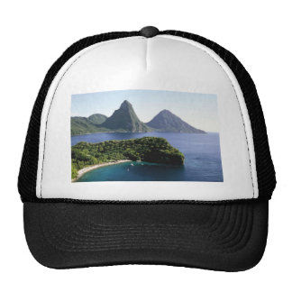 st_lucia_pitons_and_caribbean_sea trucker hat