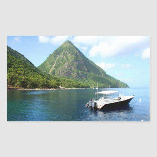 St Lucia Pitons Rectangular Sticker