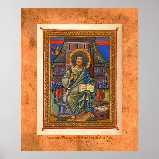 St Luke Illuminated Medieval Religious Art Print