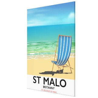 St Malo, Britanny Beach poster Canvas Print