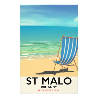 St Malo, Britanny Beach poster Stationery