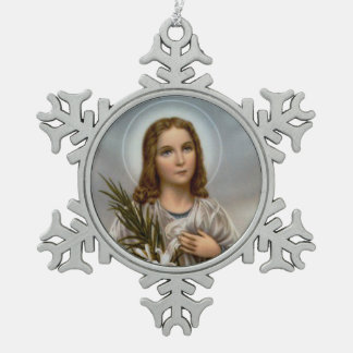 St. Maria Goretti Martyr Snowflake Pewter Christmas Ornament