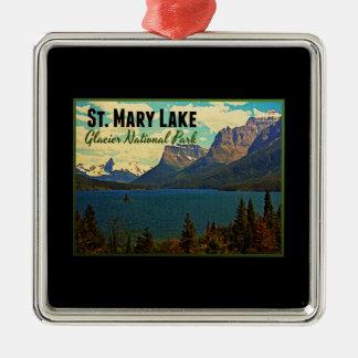 St. Mary Lake Glacier NP Metal Ornament
