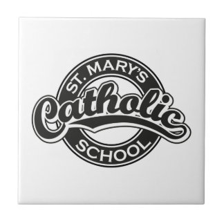 St. Mary's Catholic School Blue on Red Small Square Tile