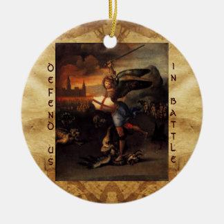 St Michael and the Dragon Prayer Round Ceramic Decoration