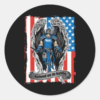 St. Michael Angel Defend Us in Battle Classic Round Sticker