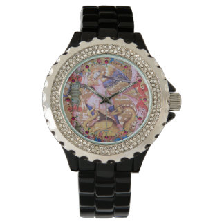 St. Michael Archangel And Dragon Antique Floral Watch