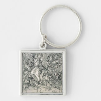St. Michael Battling with the Dragon Silver-Colored Square Key Ring