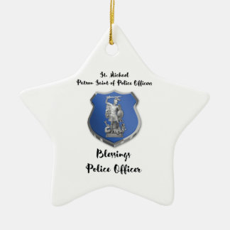 St. Michael Blessings to New Police Officer Ceramic Star Decoration