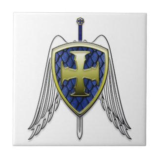 St Michael - Dragon Scale Shield Small Square Tile