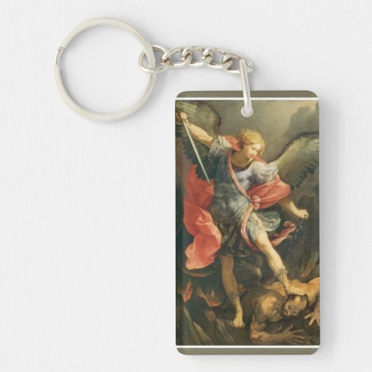 St. Michael the Archangel slaying the Devil Double-Sided Rectangular Acrylic Key Ring