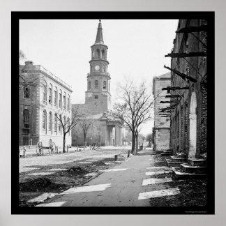 St. Michael's Church in Charleston, SC 1865 Poster