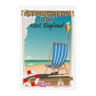 St Mildreds Bay Kent England travel poster Acrylic Print
