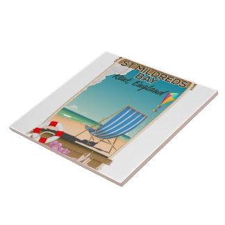 St Mildreds Bay Kent England travel poster Ceramic Tile
