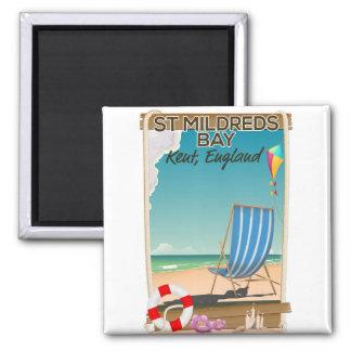 St Mildreds Bay Kent England travel poster Square Magnet