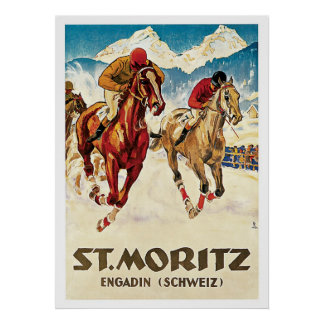 St.Moritz Switzerland Horse Races Vintage Travel Poster