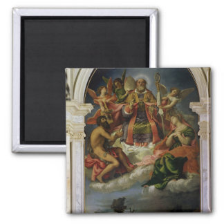 St. Nicholas in Glory with Saints Square Magnet