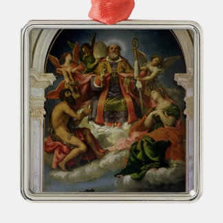 St. Nicholas in Glory with Saints Silver-Colored Square Decoration