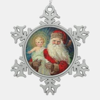 St. Nicholas of Myra Bishop Baby Jesus Snowflake Pewter Christmas Ornament