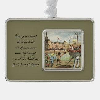 St. Nick Dutch Sinterklaas arrives on boat Vintage Silver Plated Framed Ornament