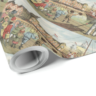 St. Nick's Day Dutch Sinterklaas Arriving Vintage Wrapping Paper