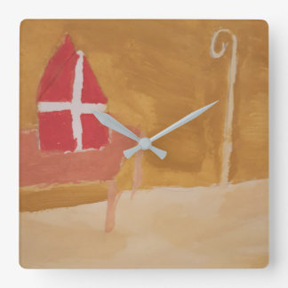 St. Nick's Day Dutch Sinterklaas Miter Watercolor Square Wall Clock