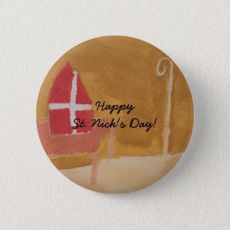 St. Nick's Day Dutch Sinterklaas  Watercolor Miter 6 Cm Round Badge