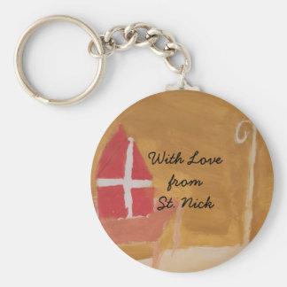 St. Nick's Day Dutch Sinterklaas  Watercolor Miter Basic Round Button Key Ring