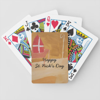 St. Nick's Day Dutch Sinterklaas  Watercolor Miter Bicycle Playing Cards
