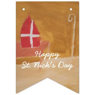 St. Nick's Day Dutch Sinterklaas Watercolor Miter Bunting