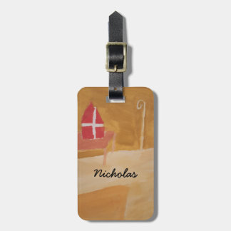 St. Nick's Day Dutch Sinterklaas  Watercolor Miter Luggage Tag