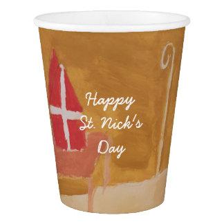 St. Nick's Day Dutch Sinterklaas Watercolor Miter Paper Cup