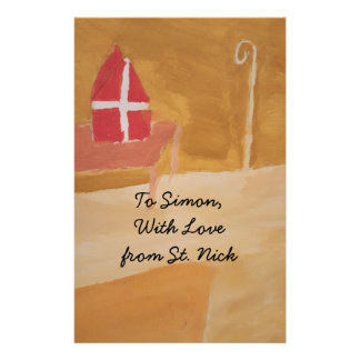 St. Nick's Day Dutch Sinterklaas  Watercolor Miter Personalized Stationery