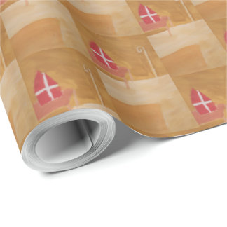 St. Nick's Day Dutch Sinterklaas  Watercolor Miter Wrapping Paper