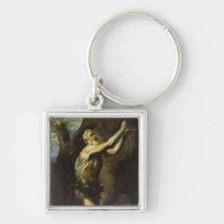 St. Onuphrius Silver-Colored Square Key Ring