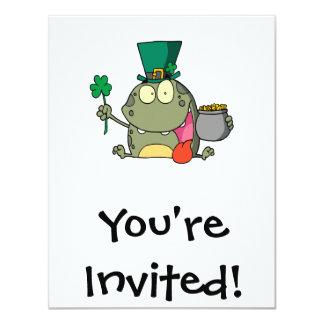 st paddy patty day froggy frog 11 cm x 14 cm invitation card