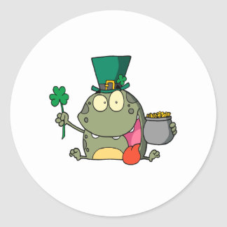 st paddy patty day froggy frog round stickers