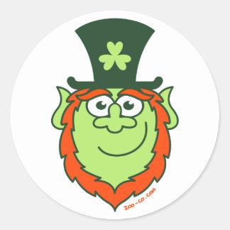 St Paddy s Day Leprechaun Smiling Round Stickers
