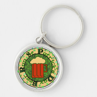 St Paddy's Beer Run Silver-Colored Round Key Ring