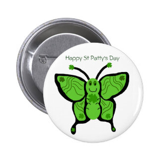 St Paddys butterfly Happy St Patty s Day button