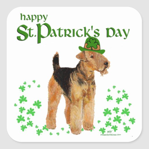 St Paddys Day Airedale Square Sticker