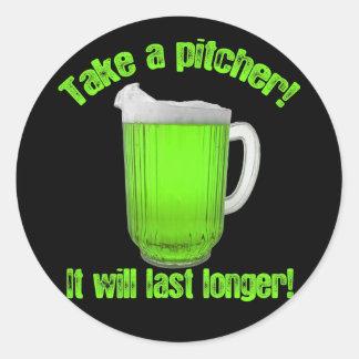 St. Paddy's Day Beer Pitcher Round Sticker