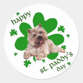 St Paddys Day Cairn Terrier Round Sticker