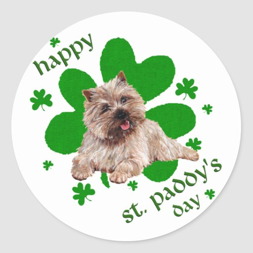 St Paddys Day Cairn Terrier Stickers